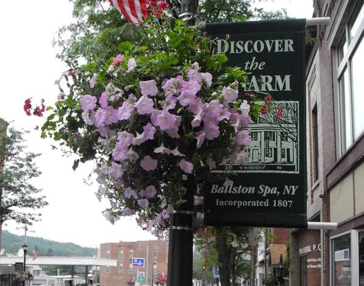 Upstate New York Flower basket bedeck the Main Street in Ballston Spa