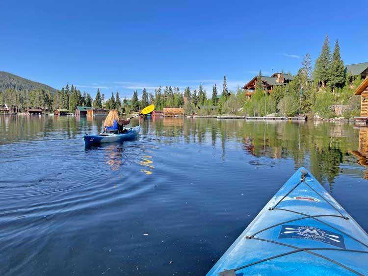Kayaking on Grand Lake. Photo by Janna Graber