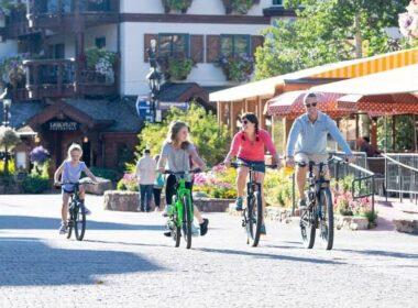 Family Biking in Vail Village by Jack Affleck
