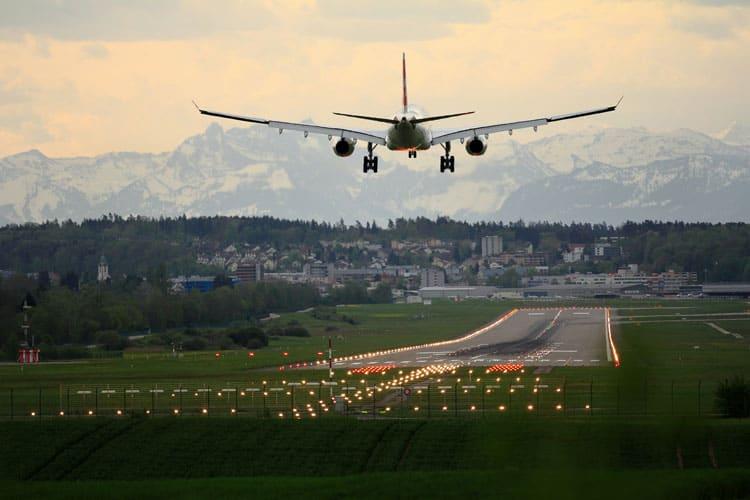 Flight landing in Switzerland