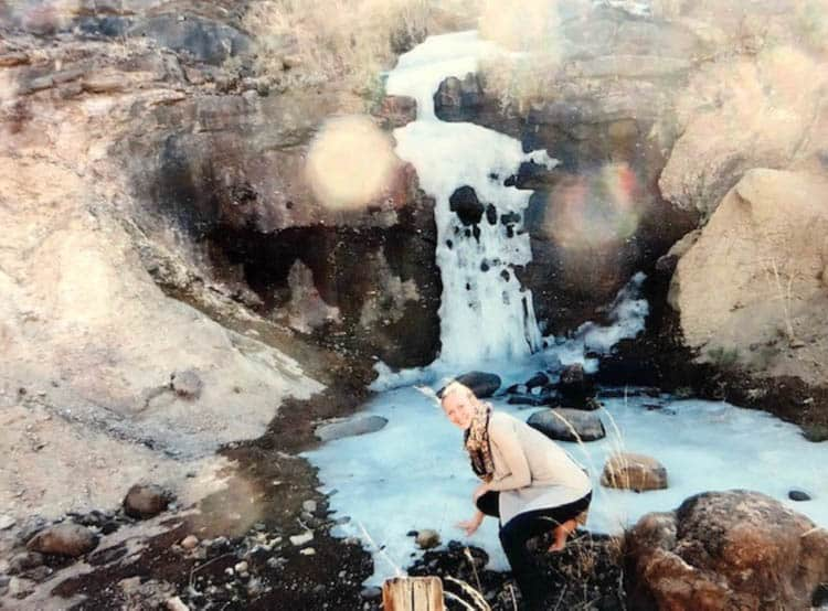 African adventure A frozen waterfall as we head into the Thaba Putso (Blue Mountains)