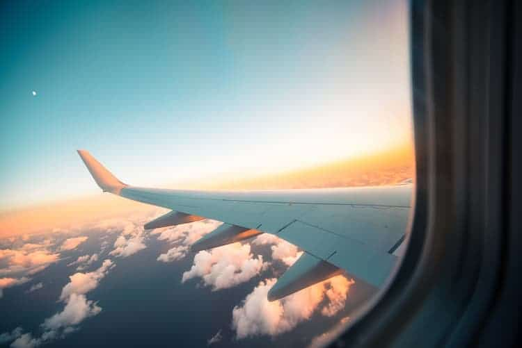 Airplane window wing viewed from the window by Jack Cohen
