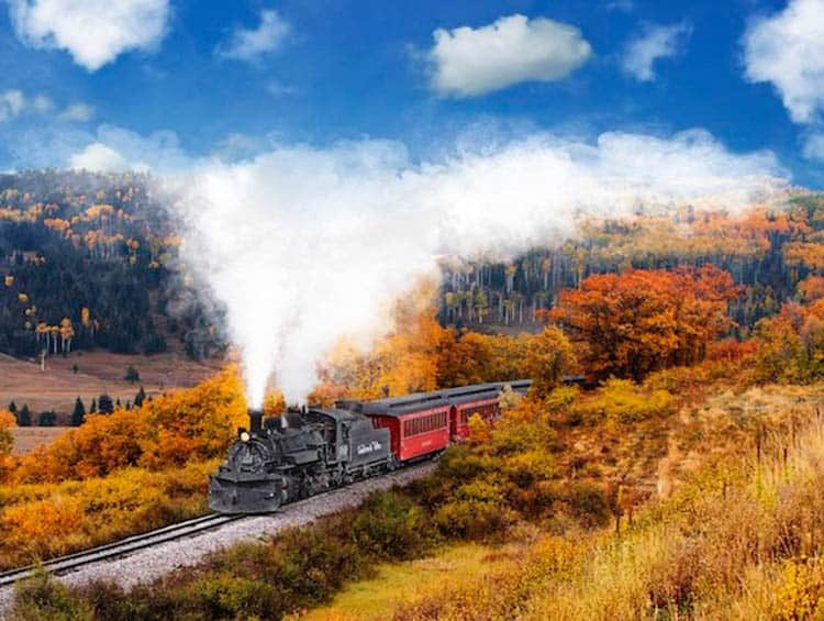 Train through the aspen foliage.
