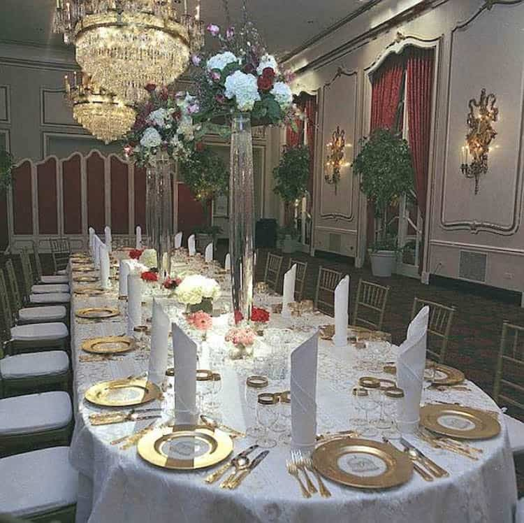 Greenbrier China Crystal Room Long Table Gold Service