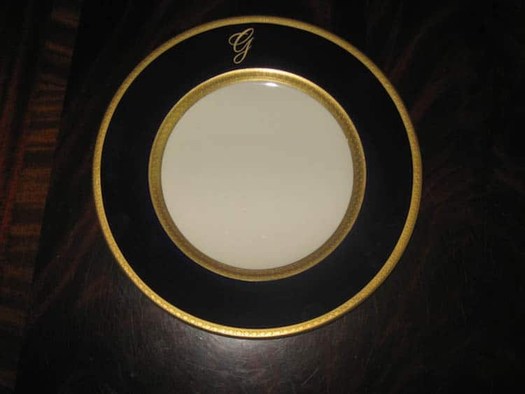 Greenbrier China Gold Service entree plate.