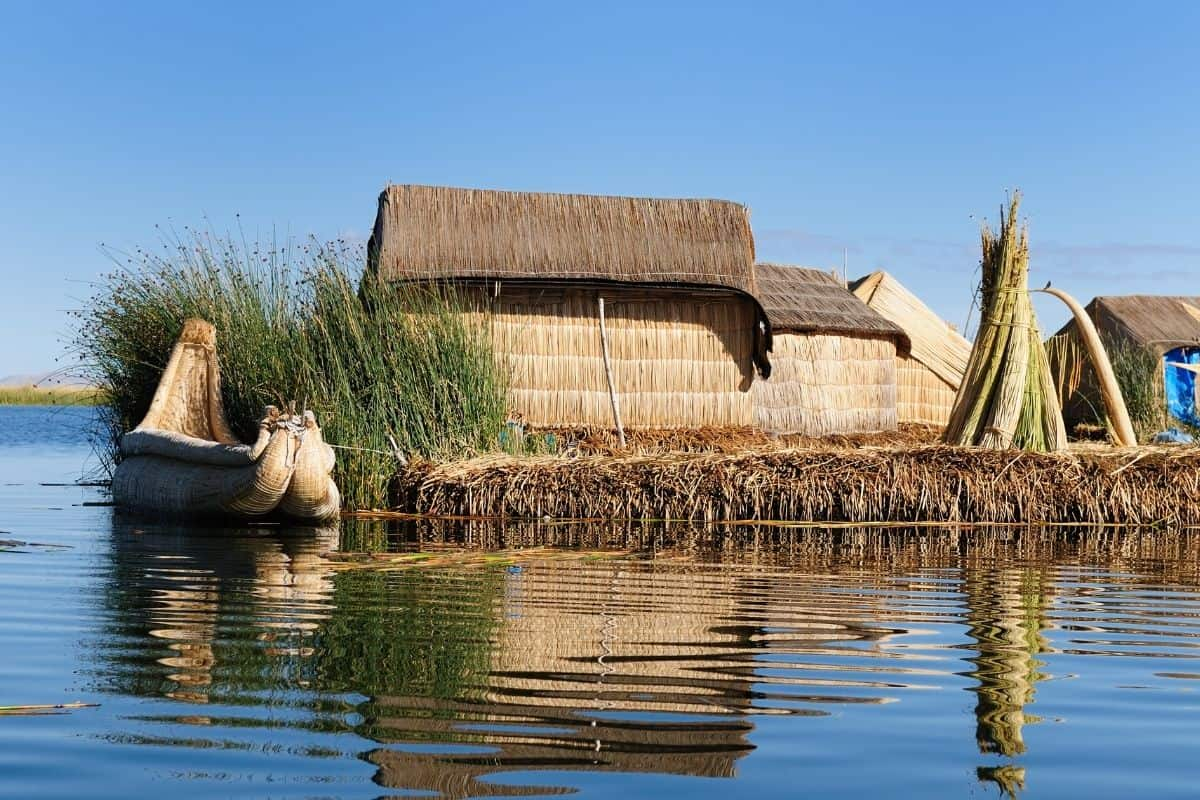 The Uros Floating Islands in Lake Titicaca, Peru are uniquely man made