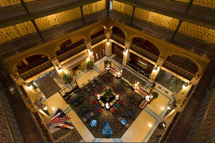 Stay at the lobby of the Brown Palace Haunted hotel