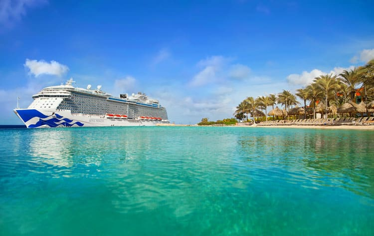 Princess cruise docked in the Caribbean