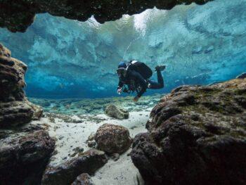 Cave diving scuba person